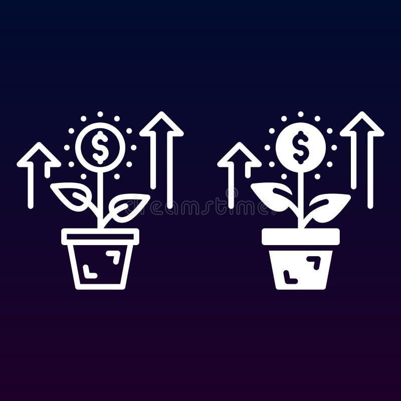 Narastająca roślina, kwiat z dolar ikoną, kontur i piktogram odizolowywający na bielu, kreskową i stałą, wypełniający wektoru zna ilustracji