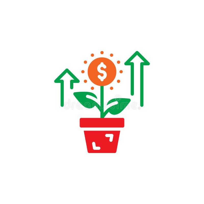 Narastająca roślina, kwiat z dolarowego znaka ikony wektorem, wypełniający mieszkanie znak, stały kolorowy piktogram odizolowywaj royalty ilustracja
