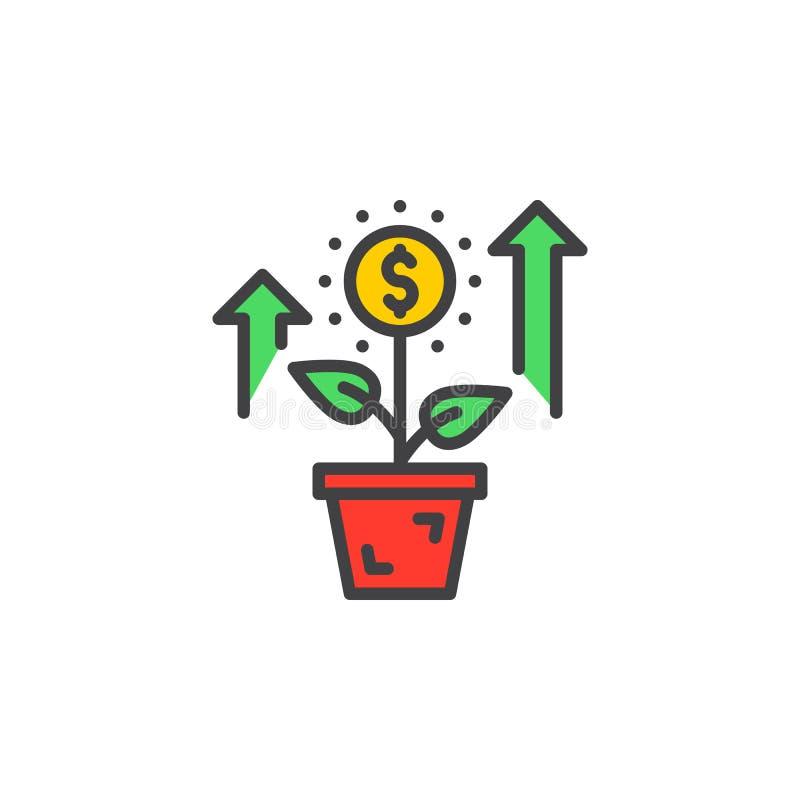 Narastająca roślina, kwiat z dolarowego znaka linii ikoną, wypełniający konturu wektoru znak, liniowy kolorowy piktogram odizolow ilustracji