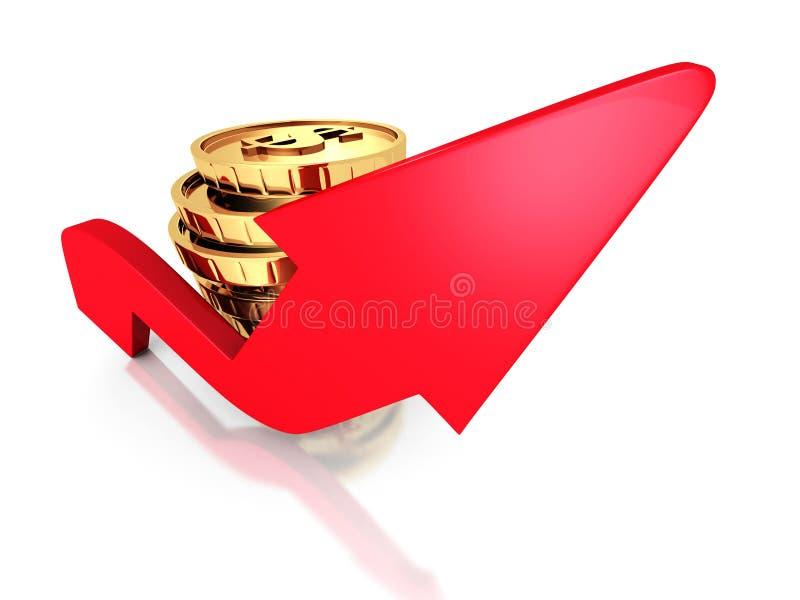 Narastająca strzała Z Złotymi Dolarowymi monetami ilustracji