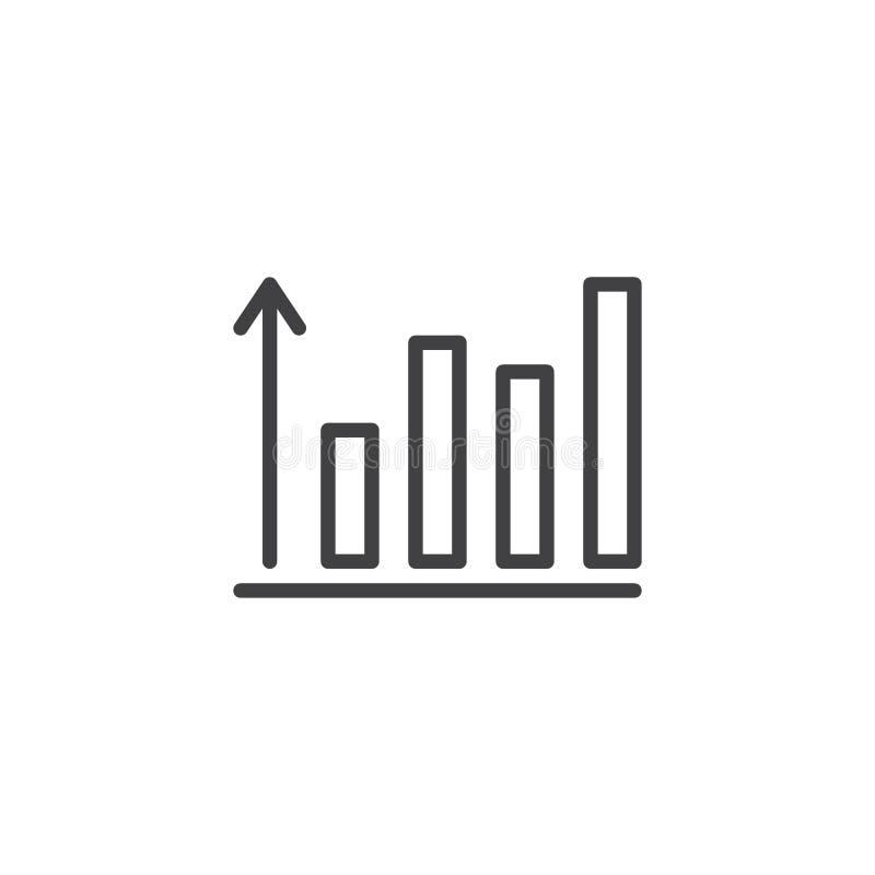 Narastająca wykresu konturu ikona ilustracji