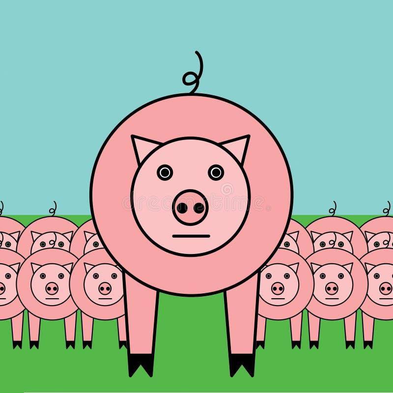 Narastające świnie ilustracja wektor