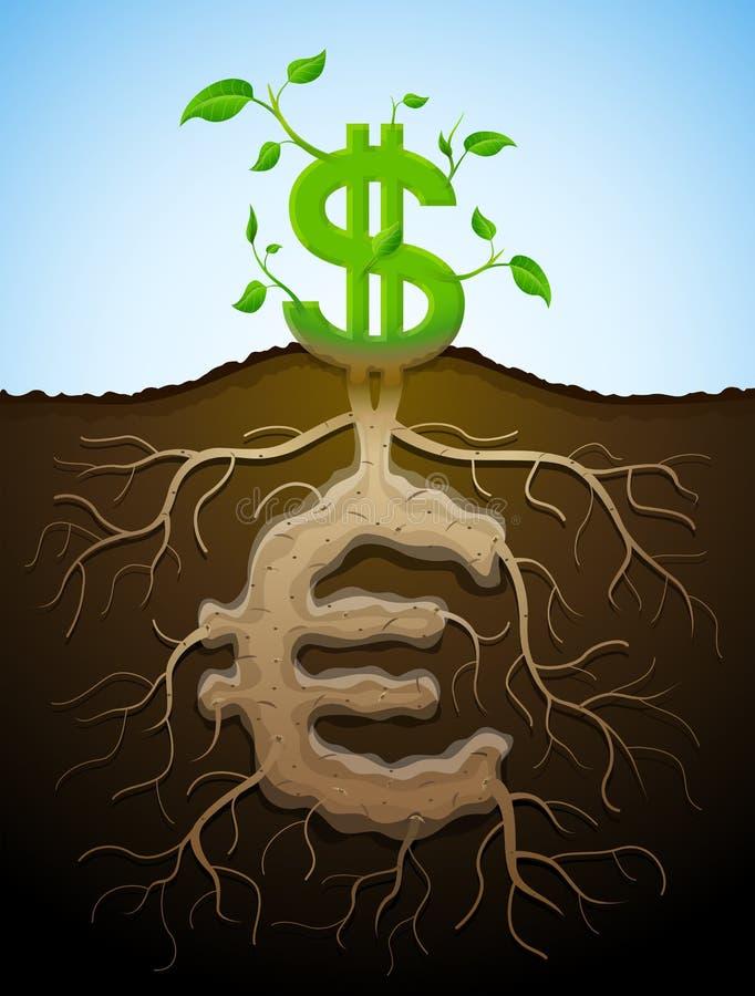Narastający dolarowy znak jak roślina z liśćmi i euro jak korzenie royalty ilustracja