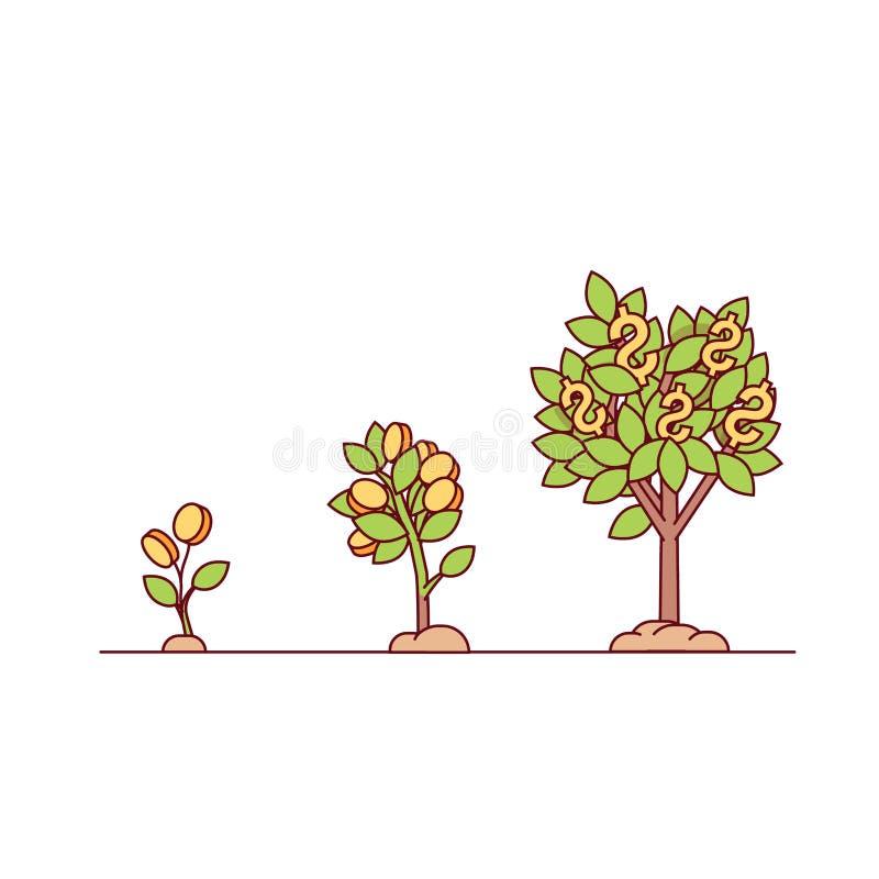 Narastający pieniądze drzewo ilustracji