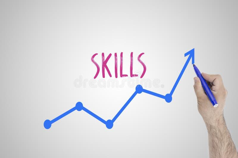 Narastający umiejętności pojęcie na białej desce Biznesmena remis przyśpiesza linię udoskonalające umiejętności przeciw whiteboar ilustracja wektor
