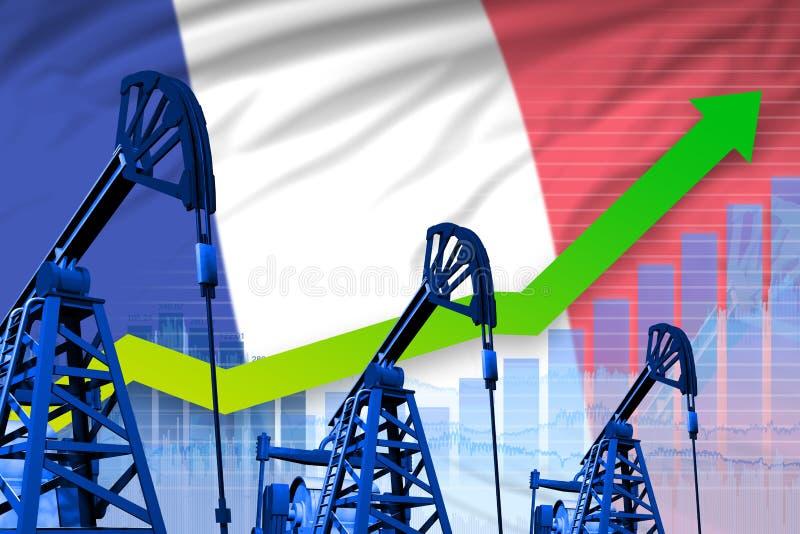 Narastający wykres na Francja flagi tle - przemysłowa ilustracja Francja przemysł paliwowy lub rynku pojęcie ilustracja 3 d royalty ilustracja