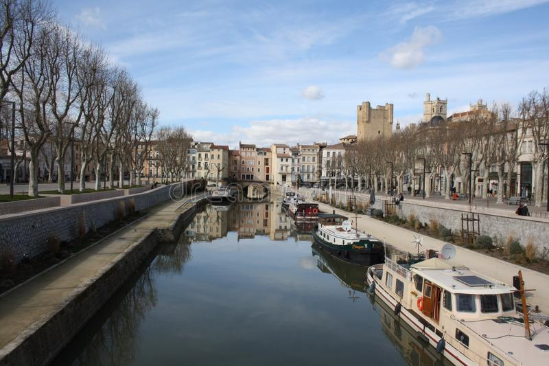 Narbona Canal du Midi immagine stock