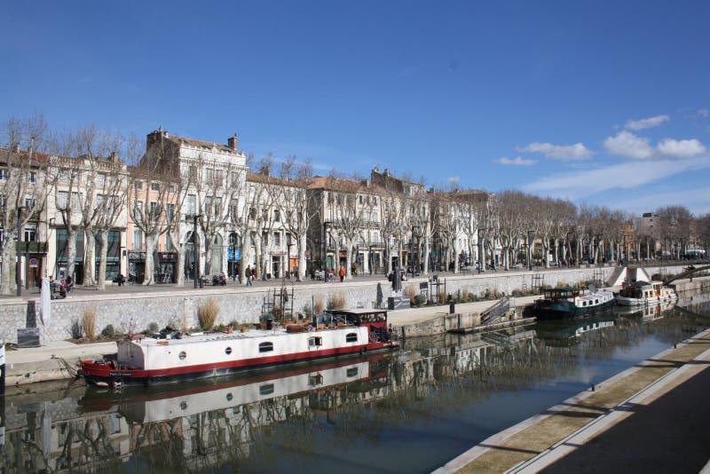 Narbonne Canal du Midi arkivbild