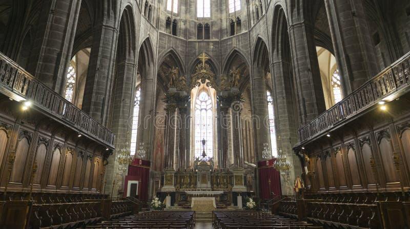 Narbonne (France), intérieur de cathédrale photographie stock libre de droits