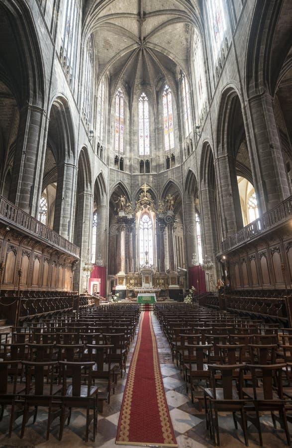 Narbonne, intérieur de cathédrale photographie stock libre de droits