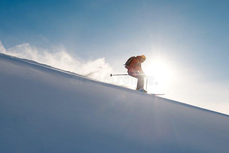 Narciarek przejażdżek freeride na proszku śnieżna opuszcza fala zdjęcie royalty free