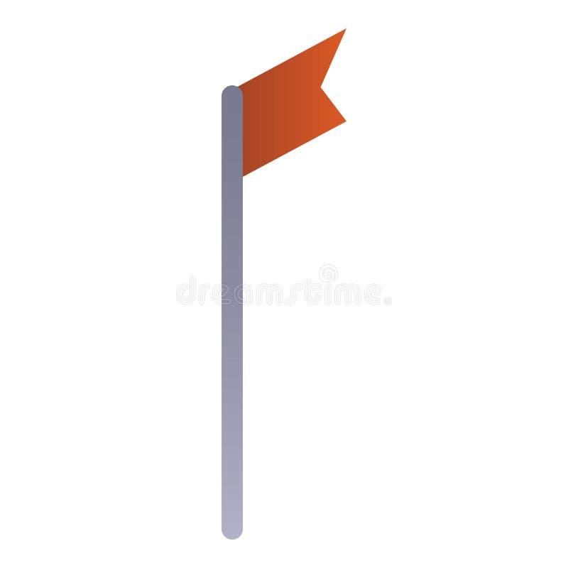 Narciarska ograniczenie flagi ikona, isometric styl ilustracji