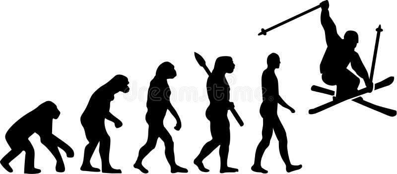 Narciarska wyczyn kaskaderski ewolucja ilustracji