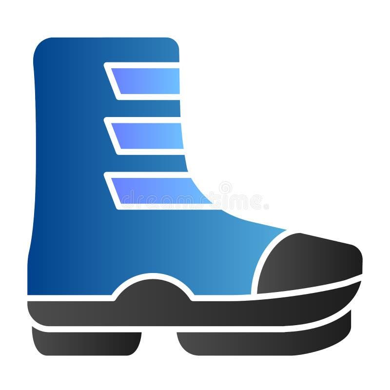 Narciarskiego buta mieszkania ikona Buty na klamra koloru ikonach w modnym mieszkaniu projektuj? Obuwie gradientu stylu projekt,  ilustracja wektor
