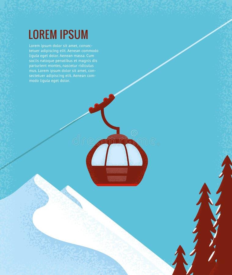 Narciarskiego dźwignięcia gondola royalty ilustracja