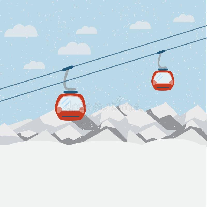 Narciarskiego dźwignięcia gondole rusza się w Śnieżnych górach royalty ilustracja