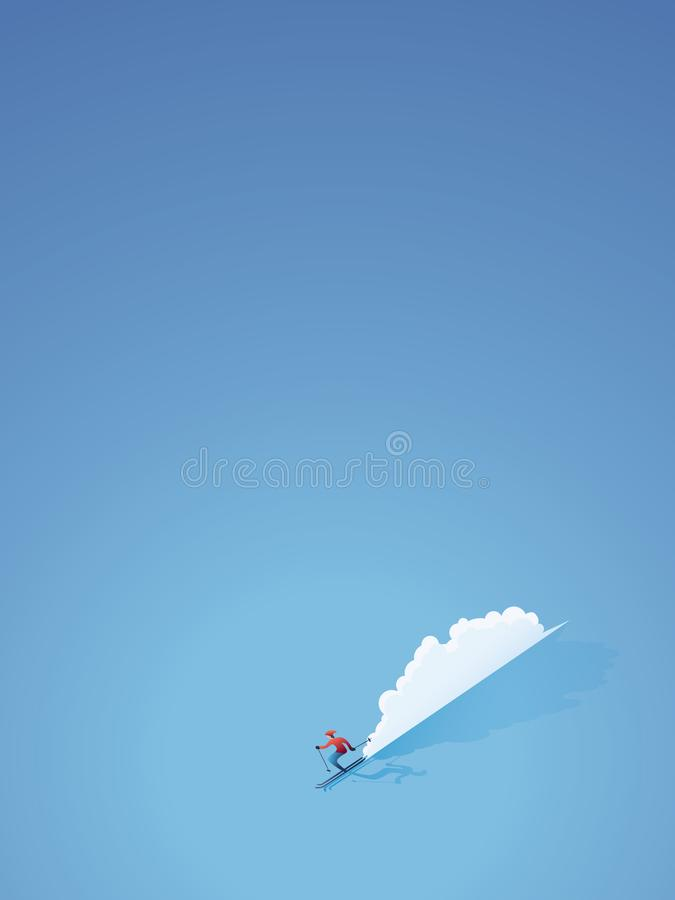 Narciarstwo sztandaru lub plakata wektoru pojęcie Narciarka w nowożytnym płaskim projekcie iść zjazdowy Miminalist sztuki styl ilustracji