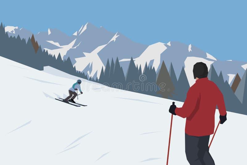 Narciarstwo w wysokich górach, płaska projekta wektoru ilustracja Zjazdowy skiier ilustracji