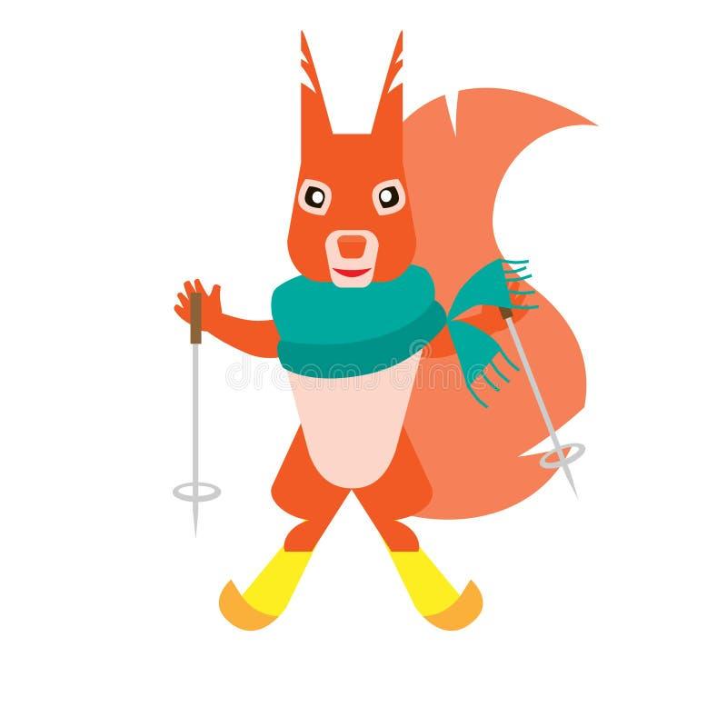 narciarstwo wiewiórka ilustracja wektor