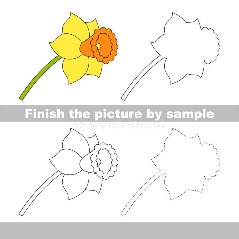 Narciso Hoja de trabajo del dibujo ilustración del vector
