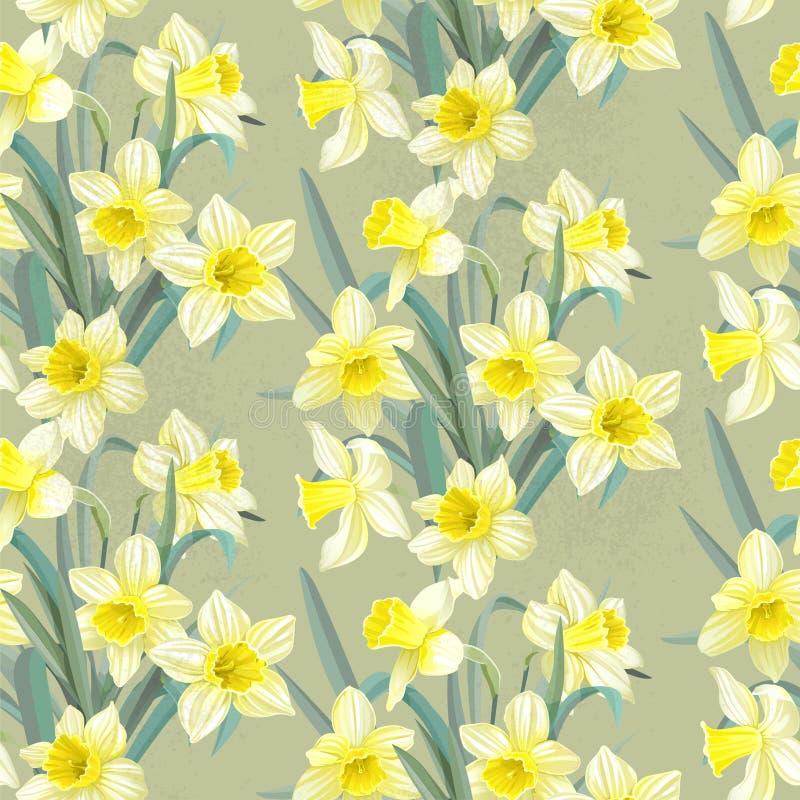 Narcisos amarillos enormes del modelo inconsútil del vintage stock de ilustración