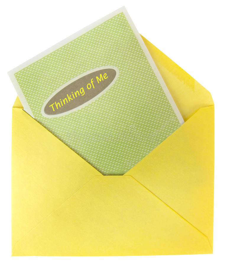 Narcissist`s sympathy card. Isolated. Narcissist`s sympathy card in yellow envelope. Isolated royalty free stock photos