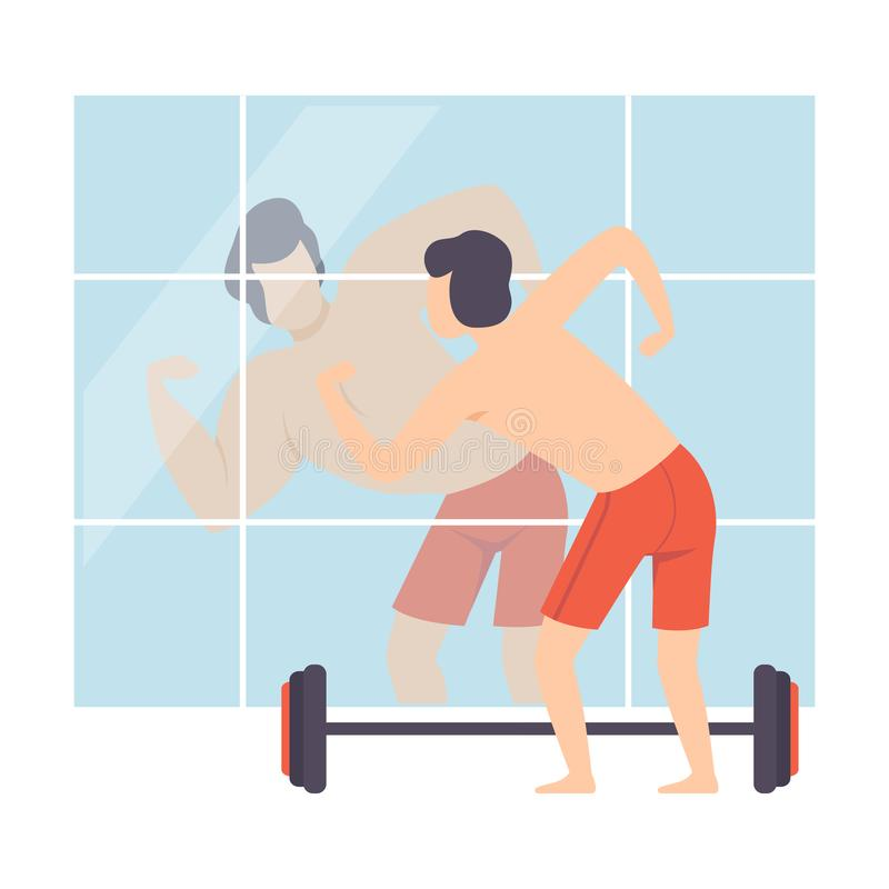 Narcissistic Man Character Looking at Mirror and Seeing Muscular Attractive Athlete, Person Overestimate Himself, Self. Confidence, Motivation Vector royalty free illustration