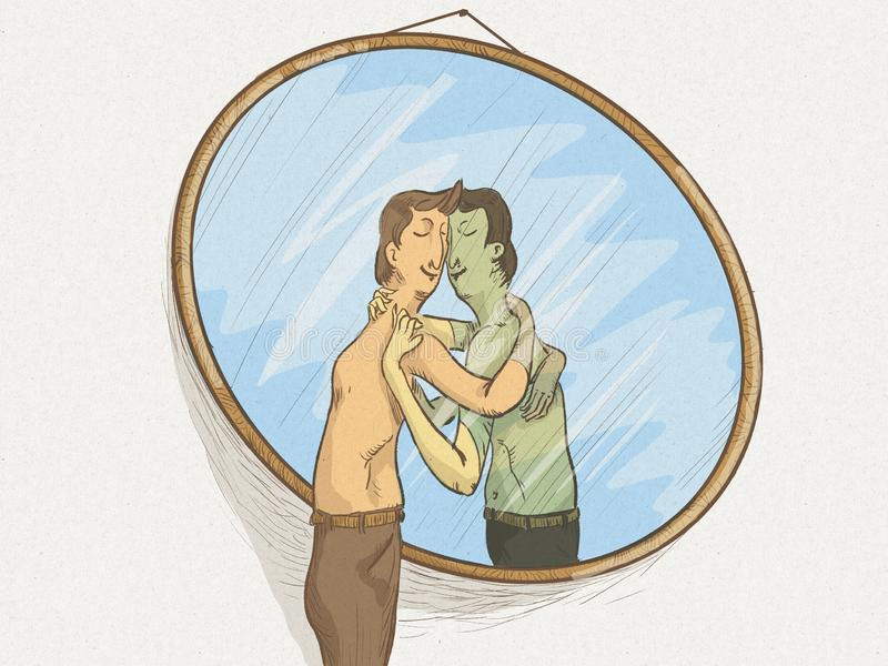 Illustration of a man in the mirror in love with himself in a self-sexual attitude. A narcissistic man who loves only himself, he embraces and kisses in front of