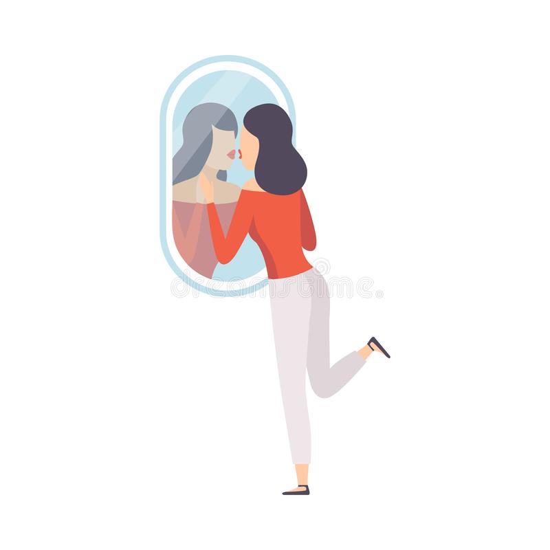 Narcissistic Woman Character Looking at Mirror and Kissing Her Reflection in Mirror, Girl Overestimate Herself, Self. Confidence, Motivation Vector Illustration royalty free illustration