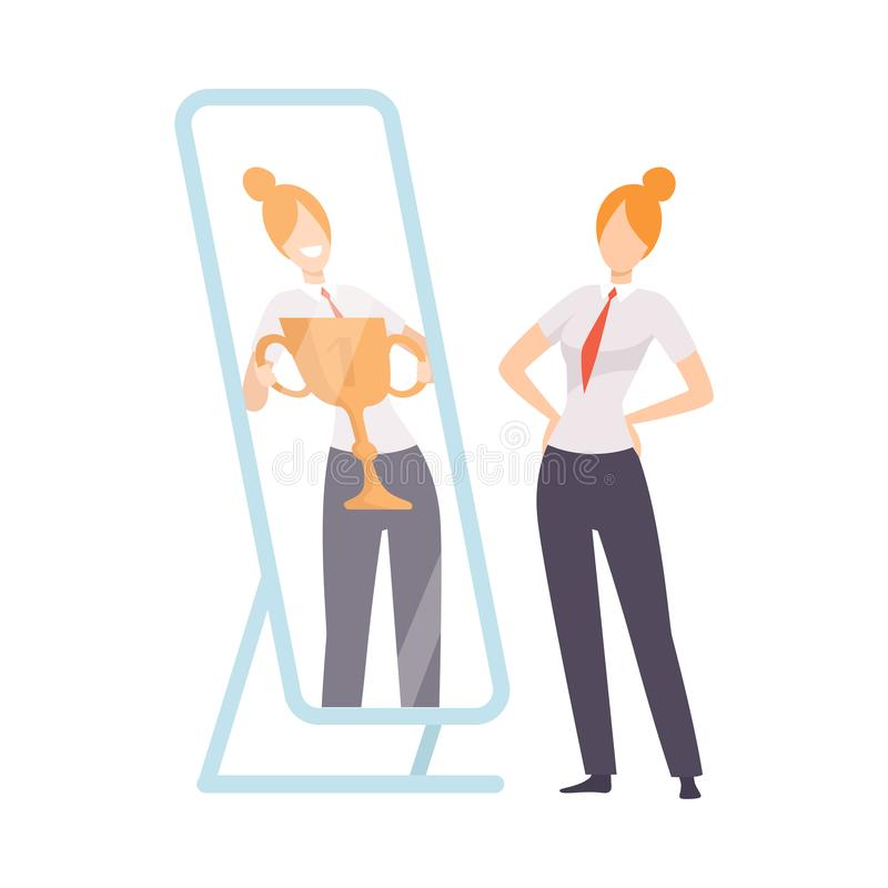 Narcissistic Woman Character Looking at Mirror and Seeing in Reflection of Herself with Winner Cup, Girl Overestimate. Herself, Self Confidence, Motivation vector illustration
