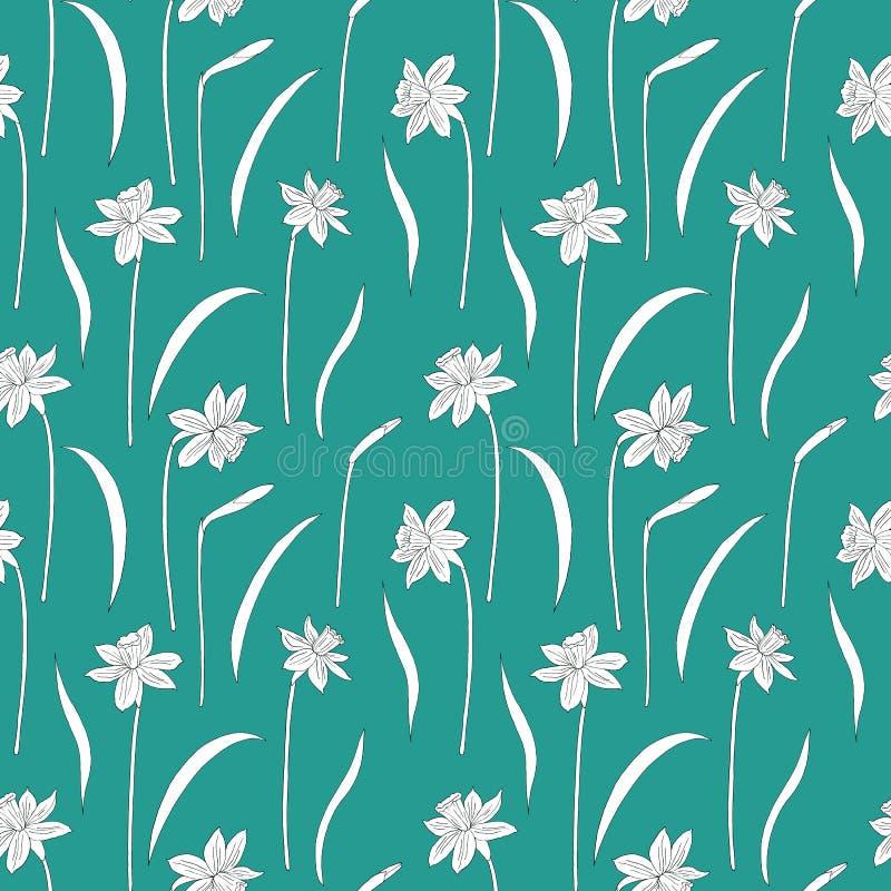 Narcissus или daffodils также вектор иллюстрации притяжки corel картина безшовная Иллюстрация чернил руки вычерченная на бирюзе иллюстрация вектора