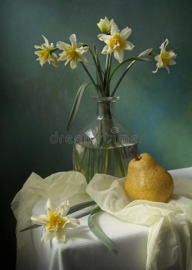 Narcissus. Still life with narcissus and pear royalty free stock photography
