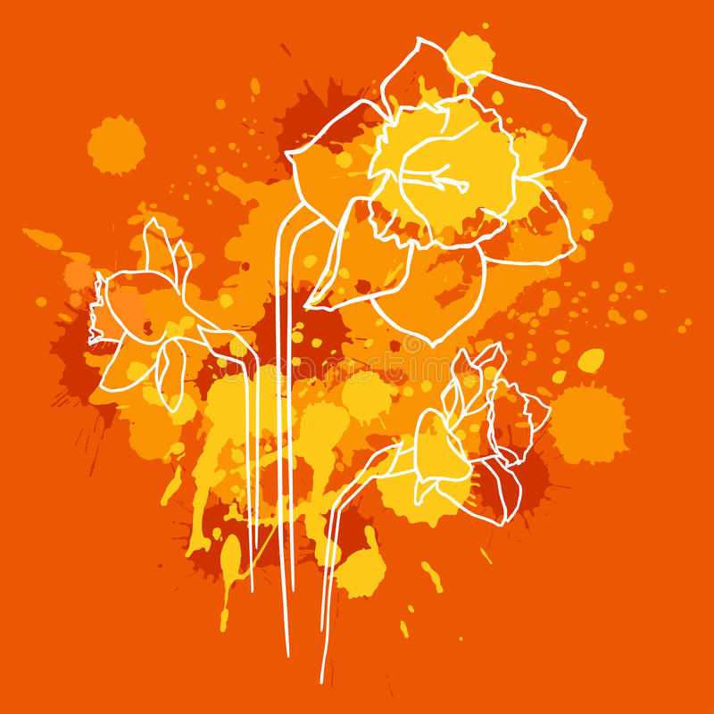 Download Narcissus with orange stock vector. Image of congratulation - 14384356