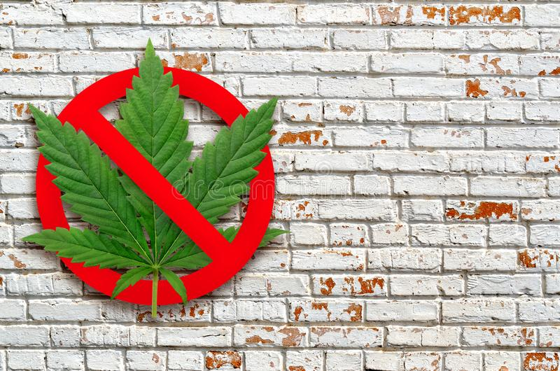 Narcotic stop sign on a brick wall background royalty free stock photos