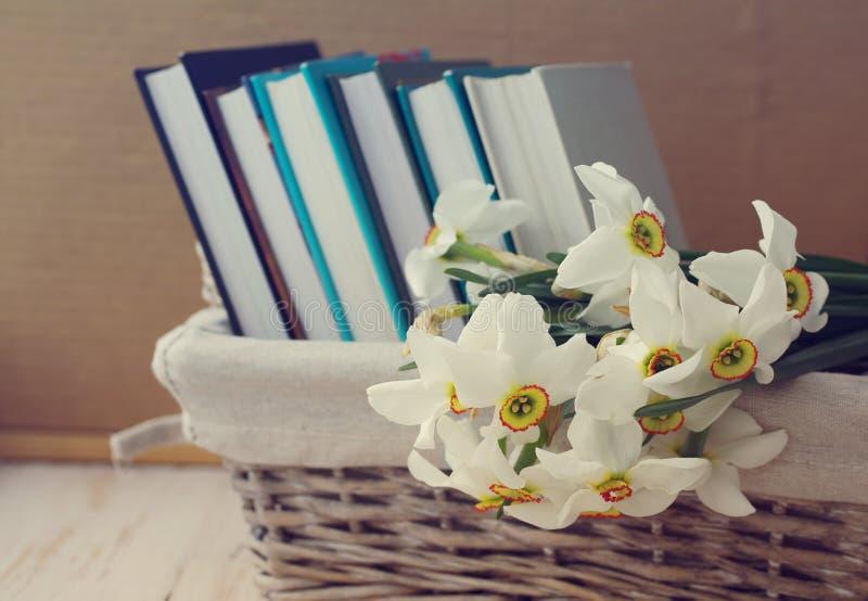 Narcyz i książki w wattled koszu zdjęcia stock