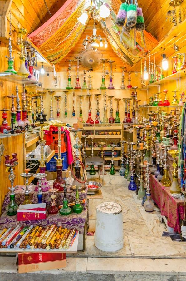 Nargile dla sprzedaży w Muzułmańskiej ćwiartce Stary miasto Jerozolima, Izrael zdjęcia stock
