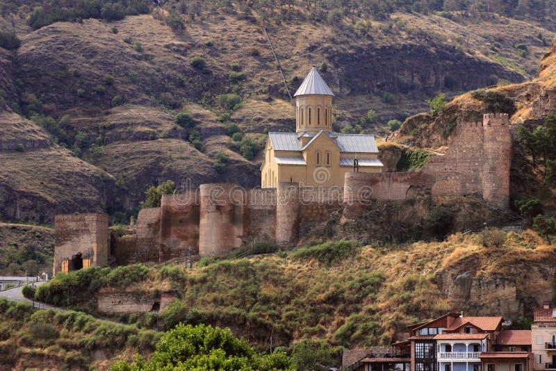 Narikala堡垒在第比利斯市,乔治亚 库存图片