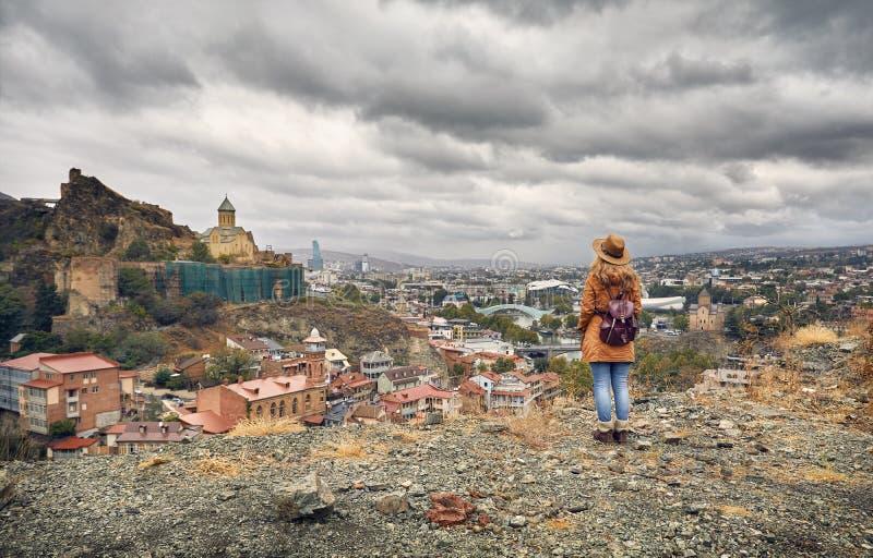 Narikala slott i Tbilisi royaltyfria foton