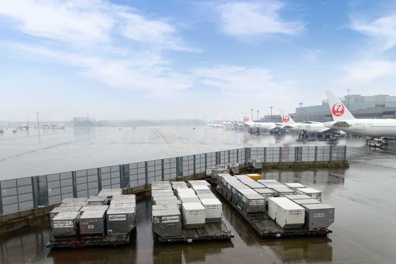NARITA, ЯПОНИЯ, 2016 ноябрь 18: Грузовые контейнеры на земных обслуживаниях стоковые фото