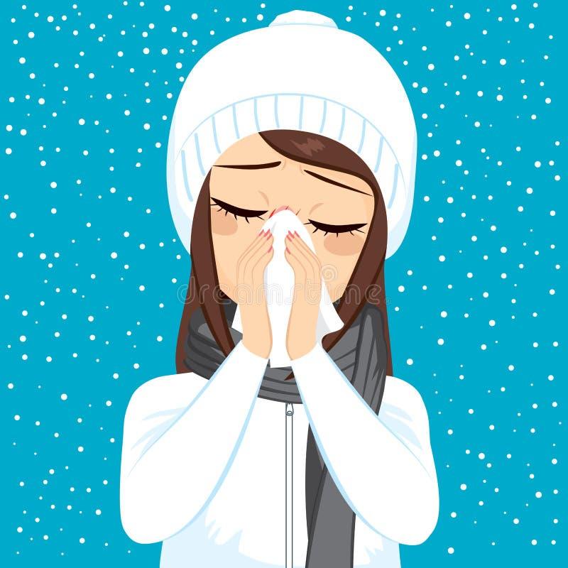 Nariz de sopro da gripe do inverno ilustração stock