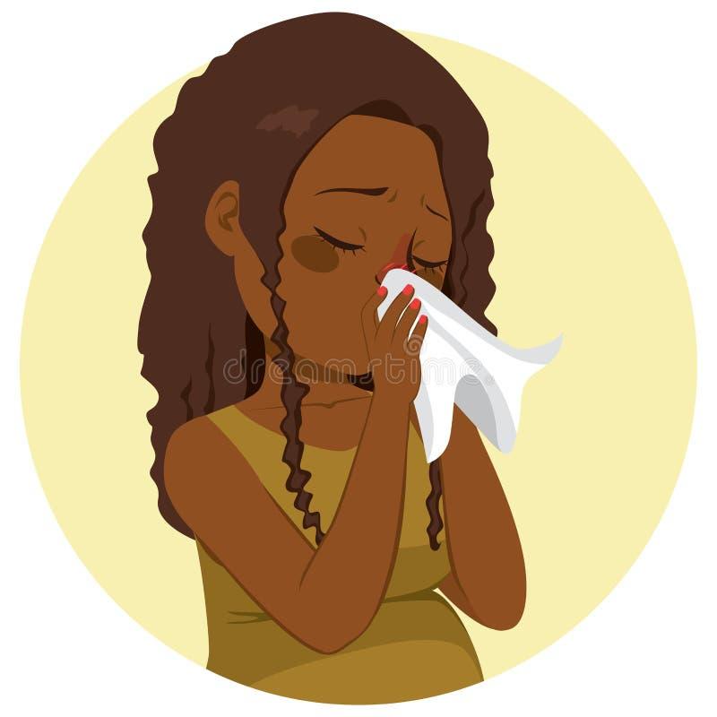 Nariz de sopro grávido da mulher da gripe ilustração do vetor