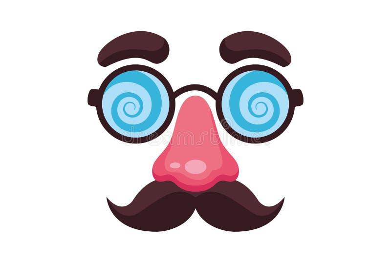 Nariz del bigote y m?scara falsas de los vidrios stock de ilustración