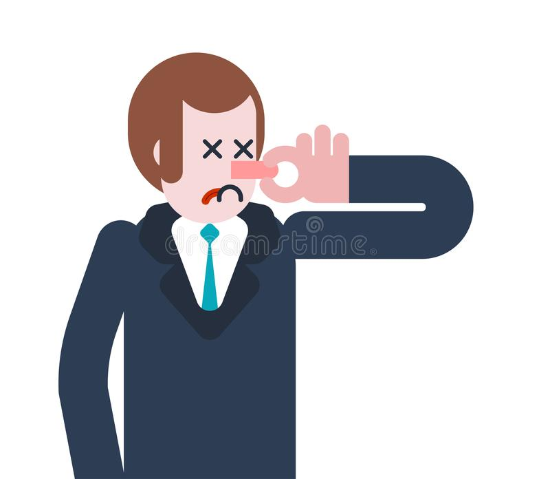 Nariz del cierre del hombre del hedor Individuo y mún olor Ilustración del vector libre illustration