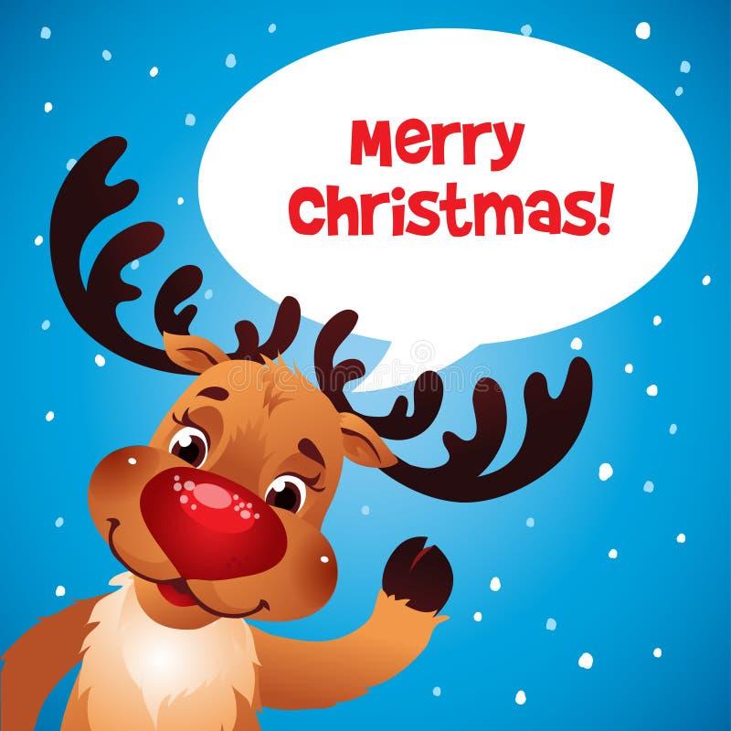 Nariz del rojo del reno de la Navidad stock de ilustración