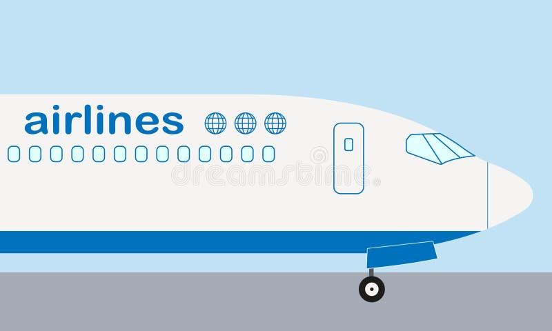 Nariz do avião Opinião lateral do avião Ilustração lisa do vetor do avião comercial ou dos aviões ilustração stock