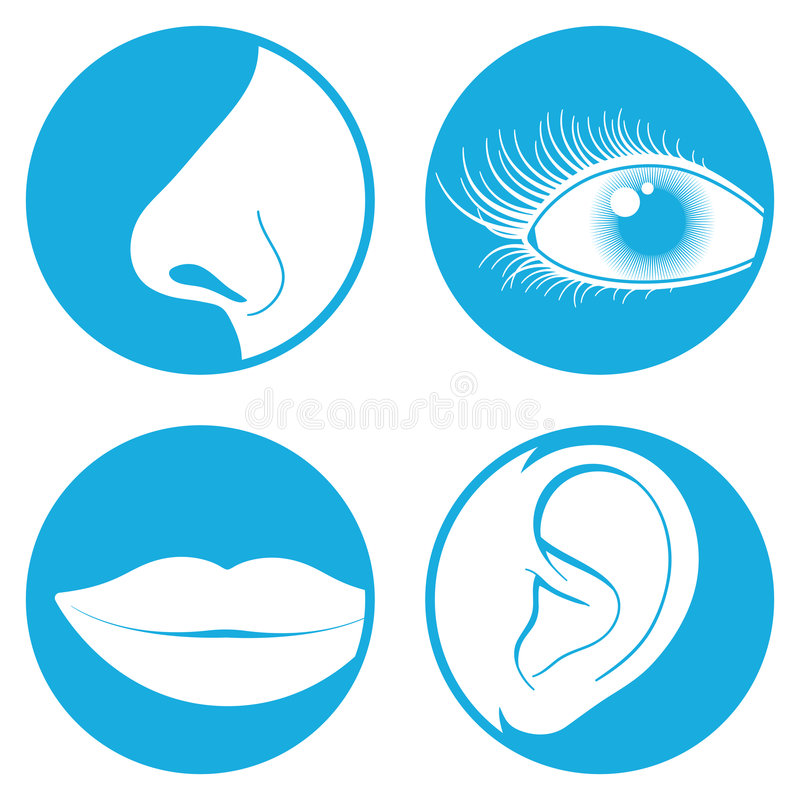 Nariz, ojo, boca, pictograma del oído stock de ilustración