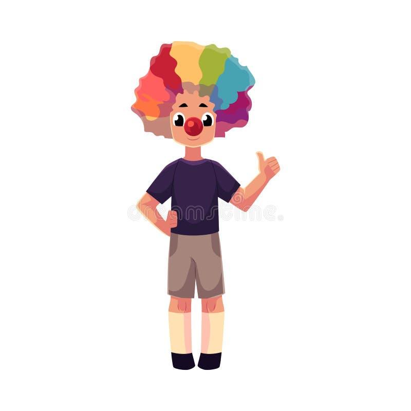 Nariz y peluca del payaso del niño pequeño que llevan que muestran el pulgar para arriba stock de ilustración