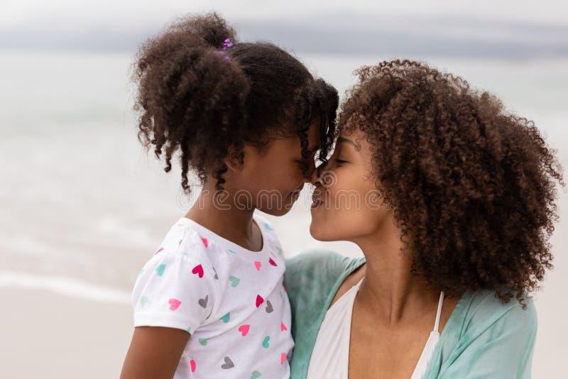 Narizes de fricção da mãe e da filha na praia em um dia ensolarado fotos de stock royalty free