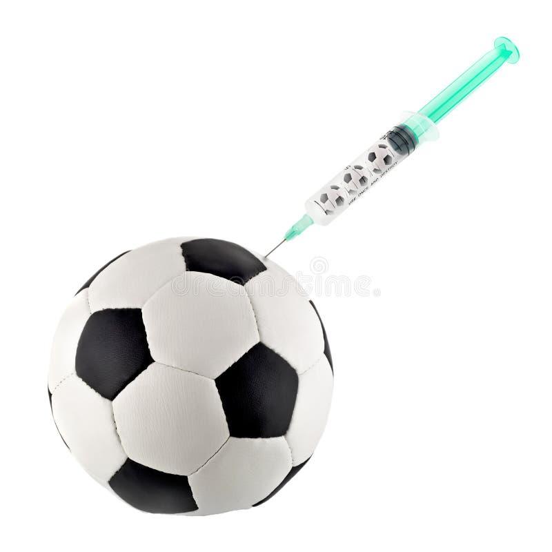 Narkotische Spritze des Fußballs lokalisierte stockbild