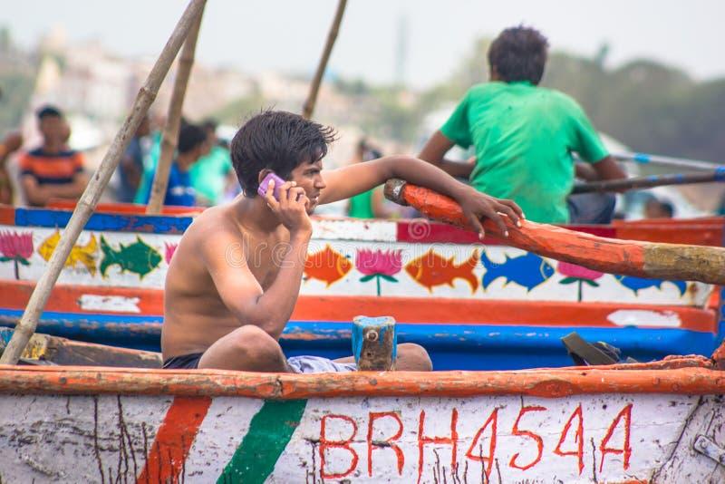 Narmada-Flussanlegestelle stockfotos